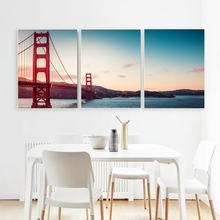 Laeacco 3 Panel the Golden Gate Bridge of San Francisco Wall Artwork Canvas Calligraphy Painting Posters Prints Home Decoration