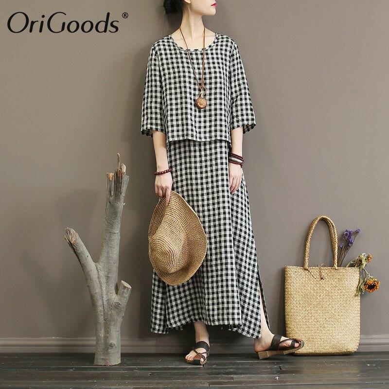 OriGoods Plaid Faux 2 pièce Femmes Robe O-cou Nouveauté conception Originale Linge De Robe D'été Vintage Plaid Robe Robes A342
