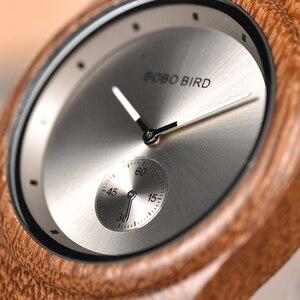 Image 4 - BOBO BIRD drewniane zegarki mężczyźni kobiety zegarki luksusowy skórzany pasek kwarcowy zegarek W drewnianym pudełku relogio masculino W * Q24