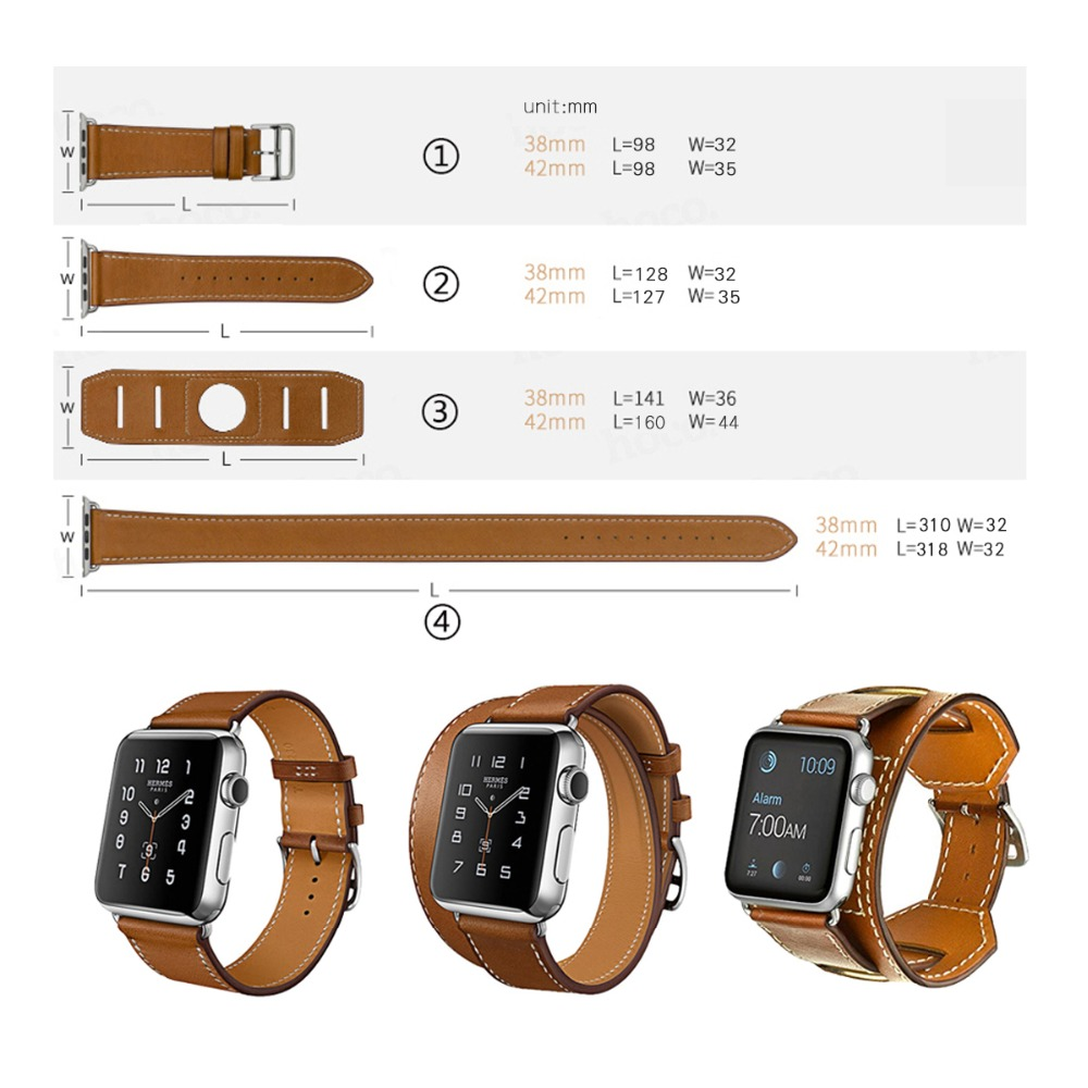 Goosuu New 4 In1 Fashion Bracelet Cuff Leather Loop Band Classic Buckle  Strap Watchband For Apple