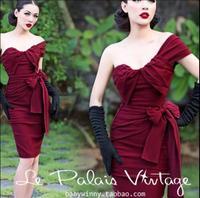 Le Palais Vintage Sexy Bow High Waist Summer Dress Strapless Party Elegant Pencil Dress Slim Female Vestidos Robe Femme