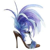 Fur charming super high heel sandals open toe ankle strap slingbacks sexy high heels woman summer sandal