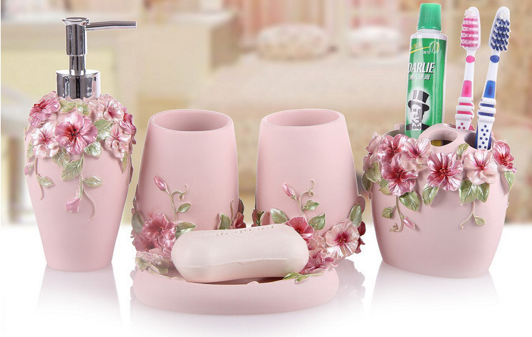 high quality elegant 5pcsset resin household wash brush cup liquid soap dispensers soap dishes bathroom accessories
