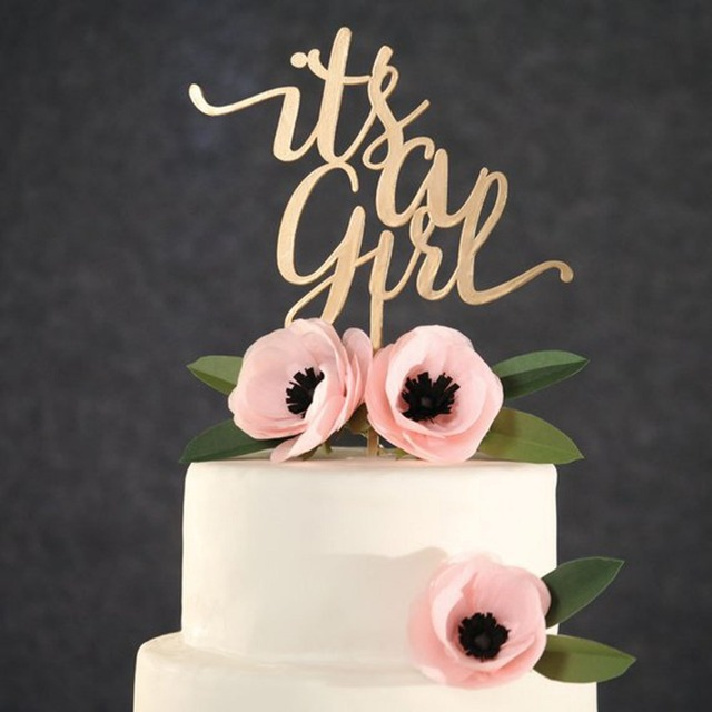 Its a Girl Happy Birthday Cake Topper,A Girl Baby Shower Birthday Festival Party Baking Cake Topper Decor Supplies,Unique Topper