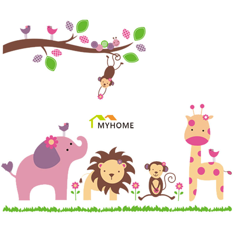Aliexpress.com : Buy Animals Playing In Jungle Nature Scenery DIY Cartoon Wall  Sticker For Kids Rooms Nursery From Reliable Stickers Bull Suppliers On ...
