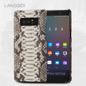 Image 2 - Wangcangli Para Samsung Galaxy S8 caso artesanal de luxo caso capa de Couro Genuíno caso de telefone de pele python verdadeiro