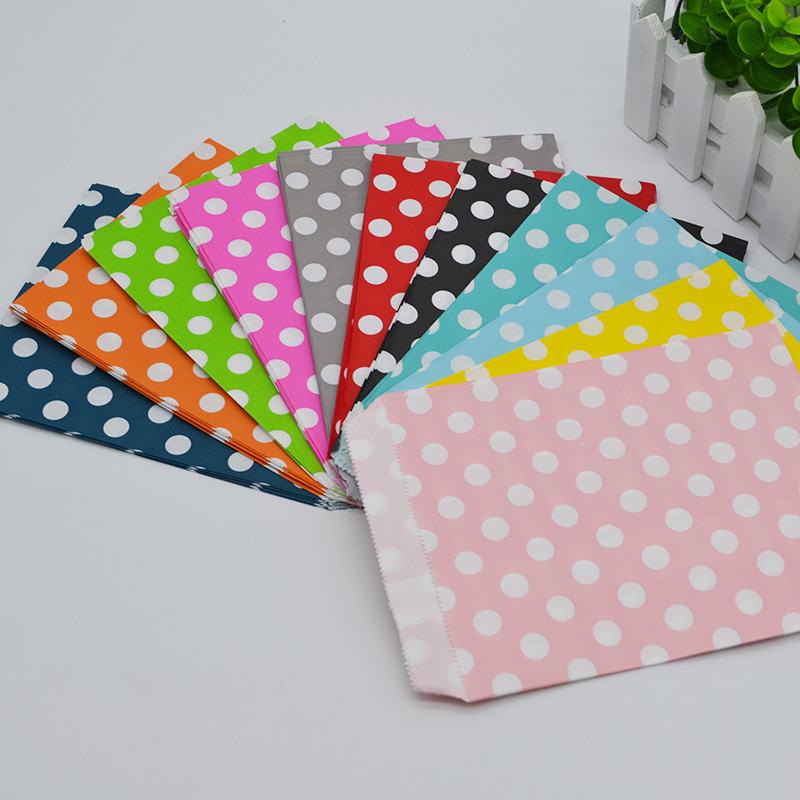 25Pcs/lot 12cm*17cm Dot Paper Candy Bags Food Packaging Paper Bag Gift Bags Birthday Wedding Party Decoration Paper Craft Bags