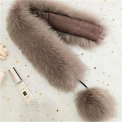 Heißer verkauf 2019 Mode frauen Winter Fuchs Pelz Schal Warm Schal Mode Verdickung Imitation Gras Fuchs Schal Anhänger Haar ball.