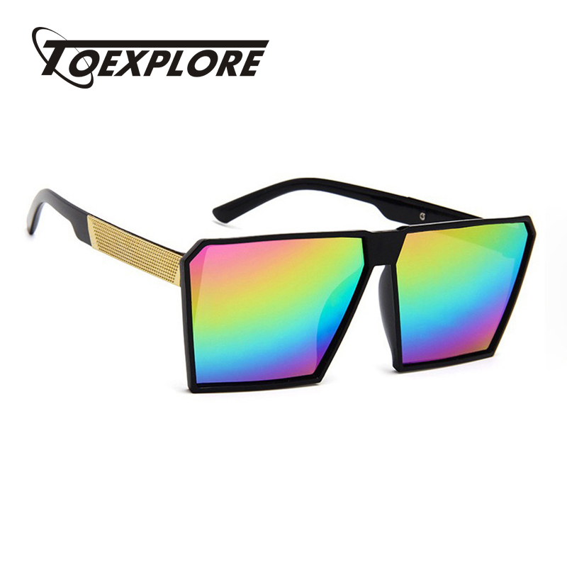 db6ef904e5a6ed TOEXPLORE Grand Cadre lunettes de Soleil Hommes Femmes Marque Designer  Lunettes Carré Miroir Lunettes Couleur mercure Mode Haute Qualité UV400