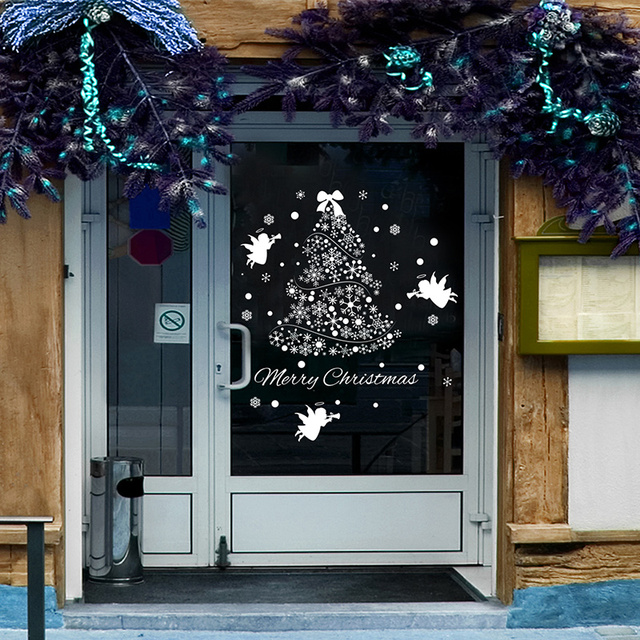 removable christmas tree window sticker waterproof living room market shop door decoration creative diy home decor
