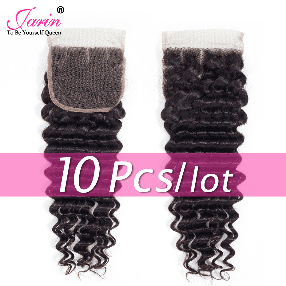 Jarin Hair 10 Bundles lot 4x4 Brazilian Closure Deep Wave Human Hair Free Middle Three Part