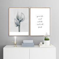 Fashion Girl Flower Canvas Poster Print Motivational Painting Nordic Decoration Wall Picture for Living Room
