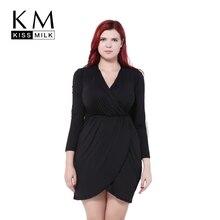 Kissmilk Big Size Women Clothing Solid Sexy V-Neck Dress OL Style Elegant Asymmetrical Wrap Plus 4XL 5XL 6XL