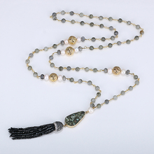 Handmade Labradorite Bead Chain Necklace Golden Lava Pearl Natural Stone Necklaces Black Crystal Tassel Long For Women