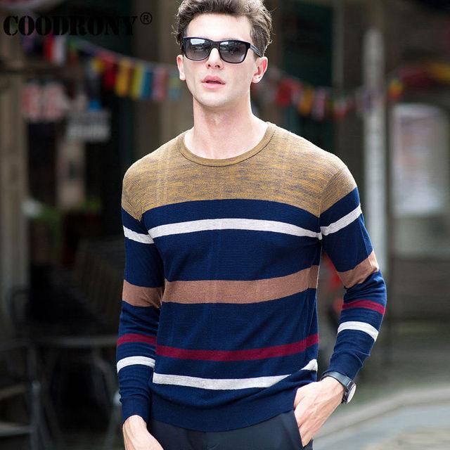 Alta Calidad 100% Real Lana Merino Suéter Hombres Ropa de la Marca de Punto de Cachemira Suéteres de Rayas de Moda Suéter Del O-cuello de Los Hombres 6323