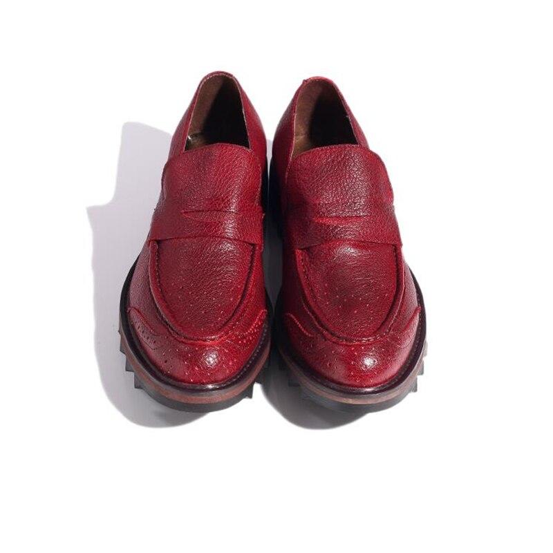 Ayakk.'ten Erkek Rahat Ayakkabılar'de Erkekler Hakiki Deri Kanat İpuçları Brogue Ayakkabı Iş Adamı Elbise Ayakkabı Kalın Topuk Düğün Ayakkabı Adam Yükseltmek ayakkabı Oxfords'da  Grup 3