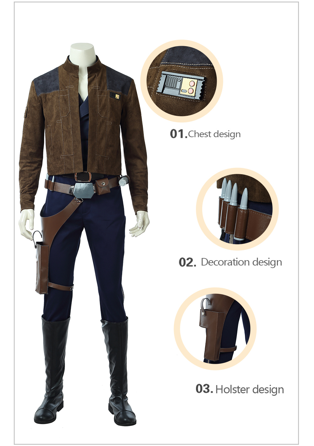 HZYM Solo A Star Wars Story Han Solo Cosplay Leather Boots Shoes Custom Made