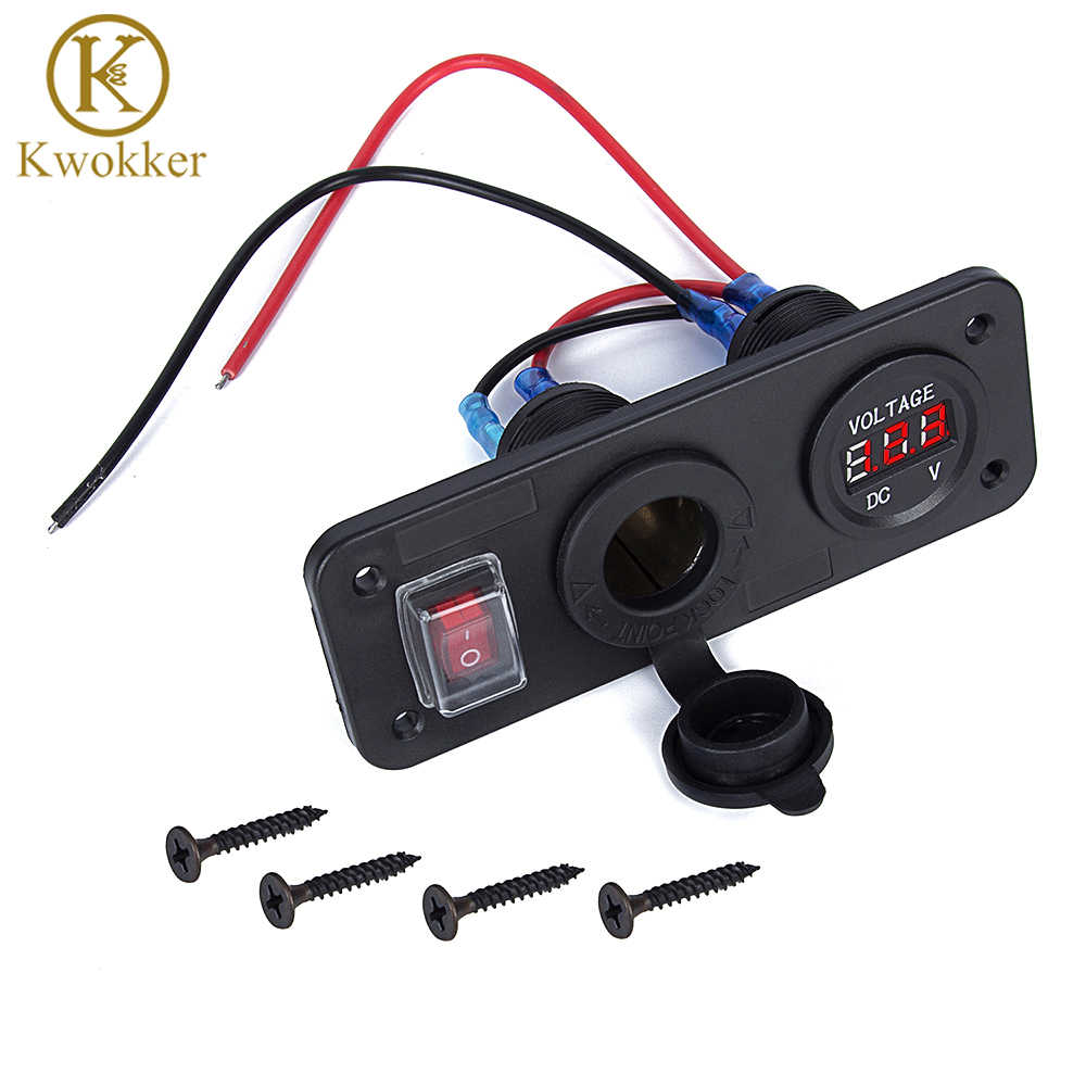Waterproof 12V 3 in 1 Car RV Marine Boat Cigarette Lighter Voltmeter & Switch & Car Cigarette Lighter Socket On/Off