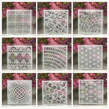 "Buy 9Pcs/Set 5"" Line Grid Geometry DIY Layering Stencils Painting Scrapbook Coloring Embossing Album Decorative Card Template directly from merchant!"