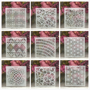 "9Pcs/Set 5"" Line Grid Geometry DIY Layering Stencils Painting Scrapbook Coloring Embossing Album Decorative Card Template"