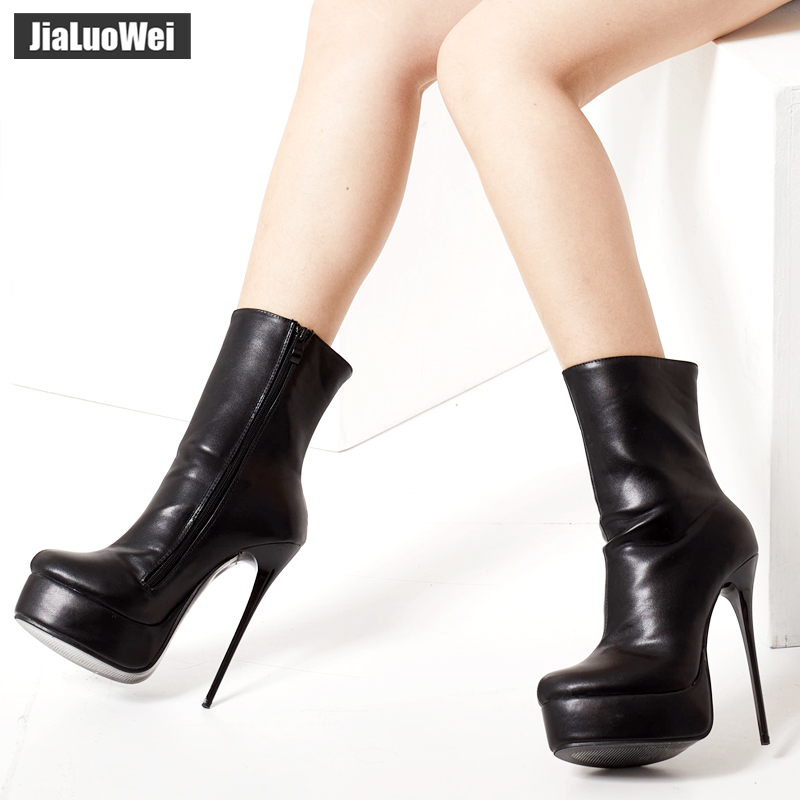 Image 2 - jialuowei Women Fetish Ankle Boots Sexy Super High Heel Platform  Boots Crocodile Print Shiny Unisex Party Wedding Female ShoesAnkle  Boots