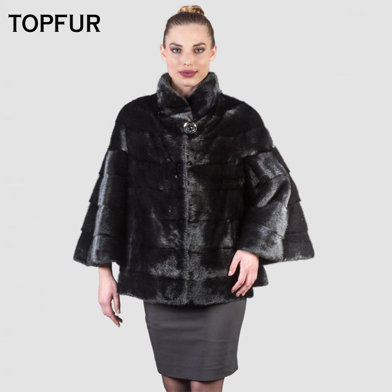 TOPFUR 2019 New Coming Real Mink Fur Coats Women Short Type Nine Point Sleeve Black Mink Fur Coat With Stand Collar Fur Jackets