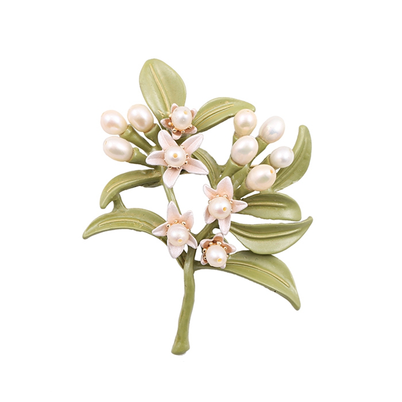 New European and American jewelry natural freshwater pearl tree lacquered green orange flower brooch corsage