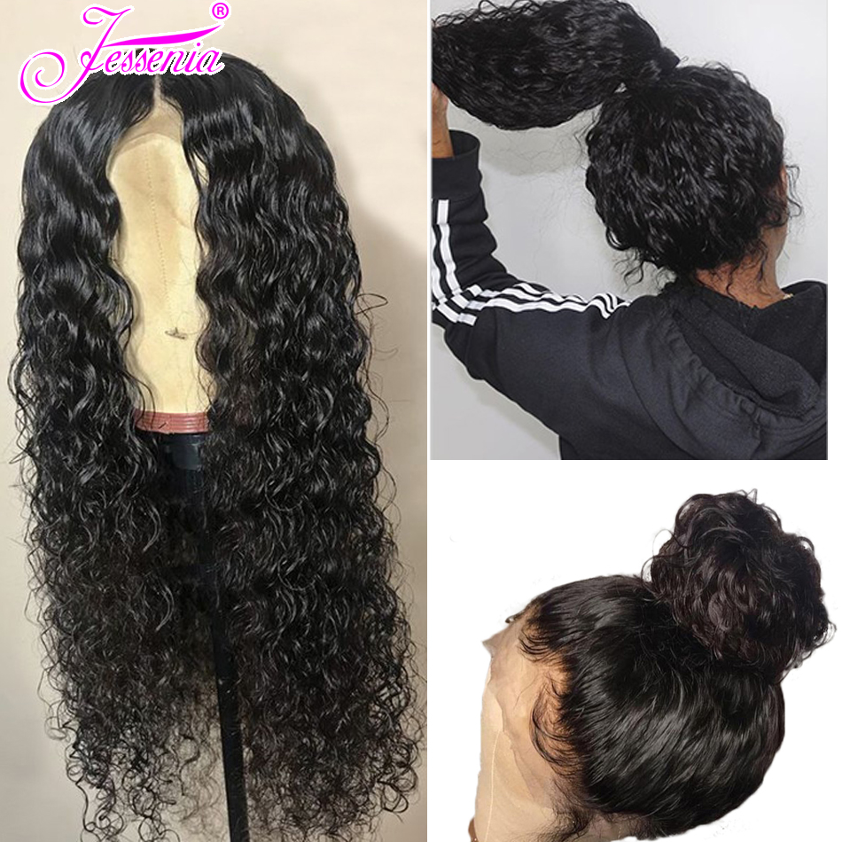 150 Density Peruvian Water Wave Lace Front Human Hair Wigs 13 4 Front Lace Wigs With Baby Hair Pre Plucked Natural Hairline in Lace Front Wigs from Hair Extensions Wigs