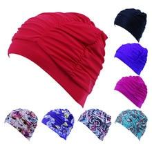 01ae39346 Tamanho livre Esportes Nadar Piscina Touca de Natação Cabelo Comprido  Chapéu Turbante para Mulheres Dos Homens