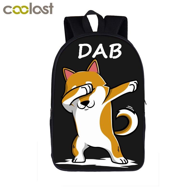 Dab Puppy Shiba Inu Dog Backpack Children School Bags Dab Panda Backpack For Teenagers Girls Boys Laptop Backpack Book Bag