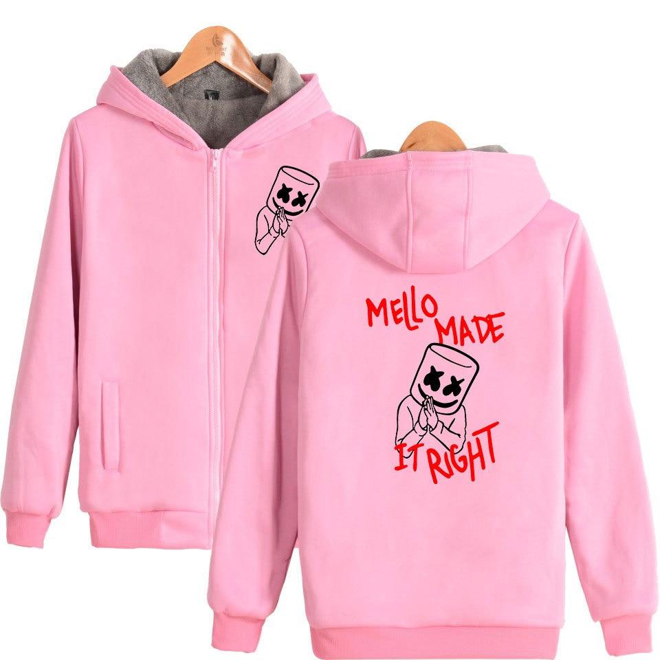 Winter Jacket Men Marshmello Smiley Face Oversized Hoodie Thicken Zipper Hooded Sweatshirt Outwear Warm Coat Tumblr Clothing