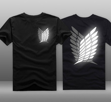 Mens Casual Anime Attack On Titan Scounting Legion Logo Reflective 100% Cotton Short Sleeve T-shirts Tee Shirts Tops