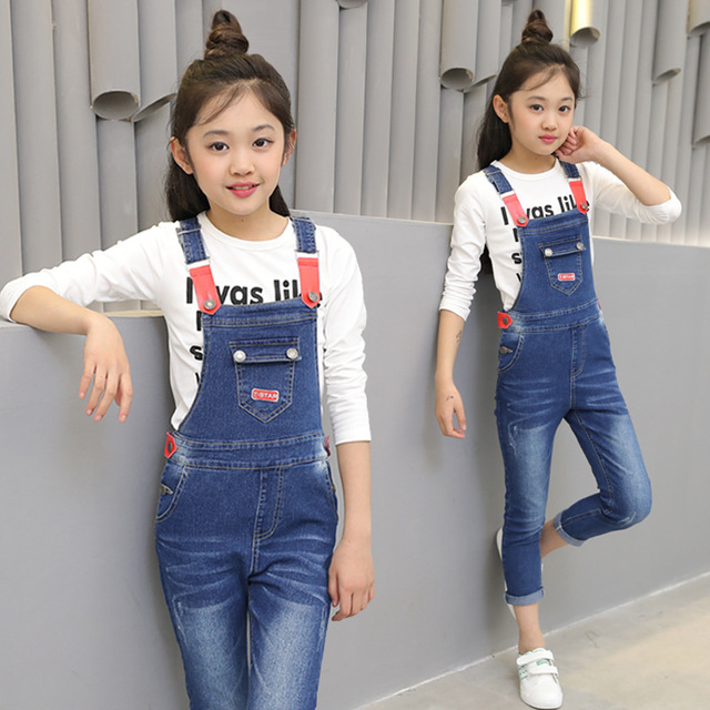 a81f0305b Girls Denim Overalls Spring Autumn Jeans For Girls Pants Casual ...