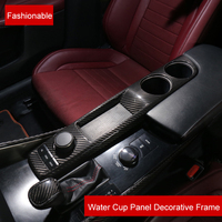QHCP Carbon Fiber Water Cup Panel Frame Cover Sticker Black Interior Car Accessories Fit For Lexus IS200T 300 250 Car styling