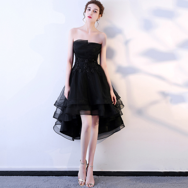 LAMYA Robe De Soiree Lace Appliques Short Front Evening Dress 2019 Customized Sleeveless Banquet Sexy Prom Dress Party Gown 1