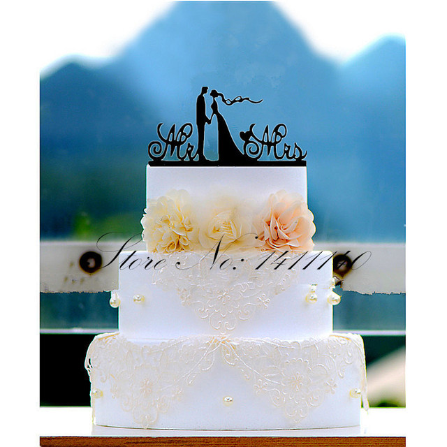 A Sweet Kiss Bride And Groom Acrylic Wedding Cake Topper For
