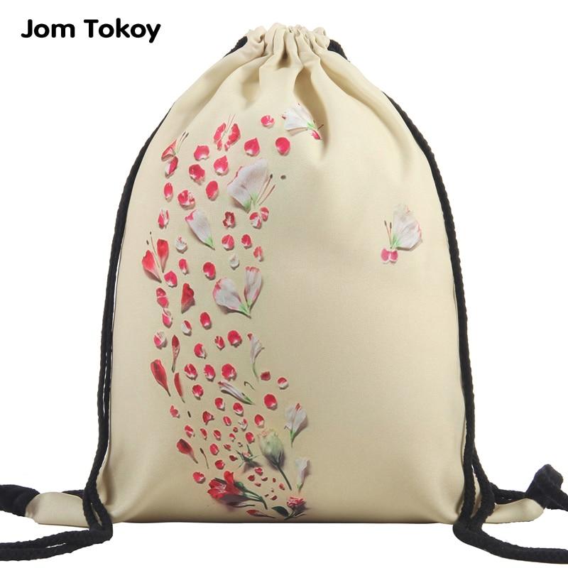 2019 New Fashion Petals Women Drawstring Backpack 3D Printing Travel Softback Mochila School Student Drawstring Bag