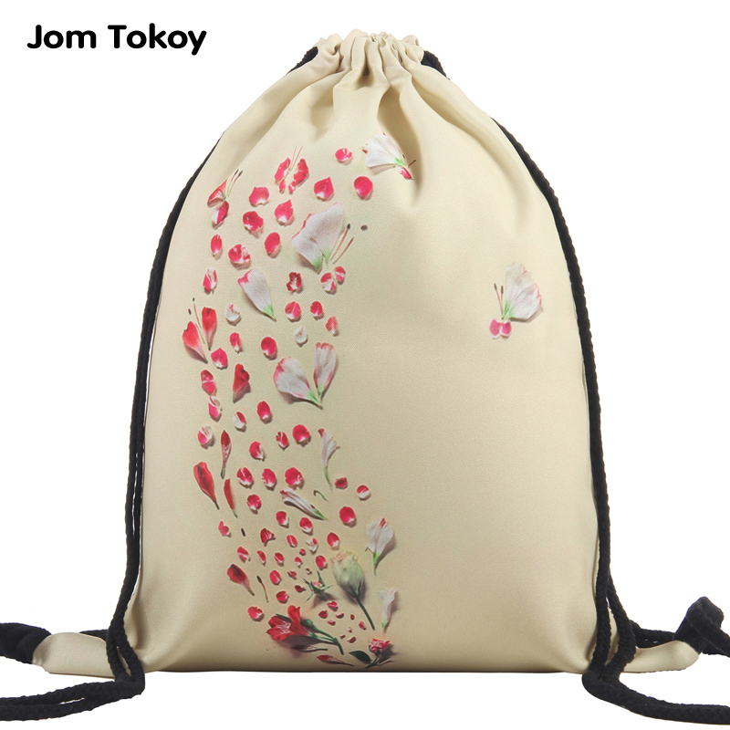 New fashion petals Women drawstring Backpack 3D printing travel softback mochila School Student drawstring bag