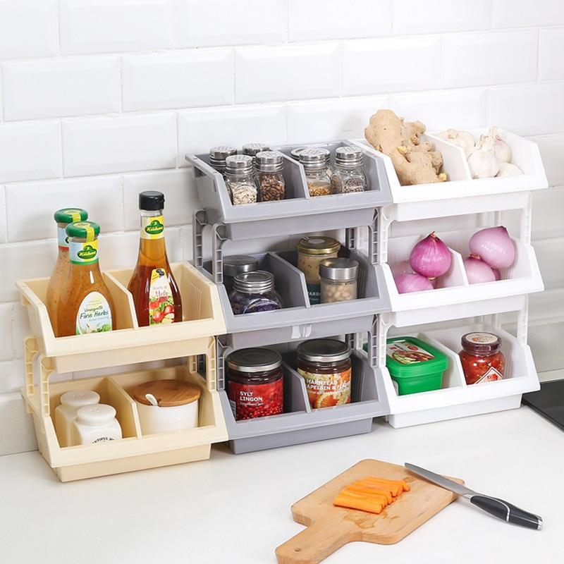 Multi layer Plastic Storage Rack Kitchen Organizer Fruit Basket Seasoning Storage Rack Desktop Shelf Bathroom Organizer