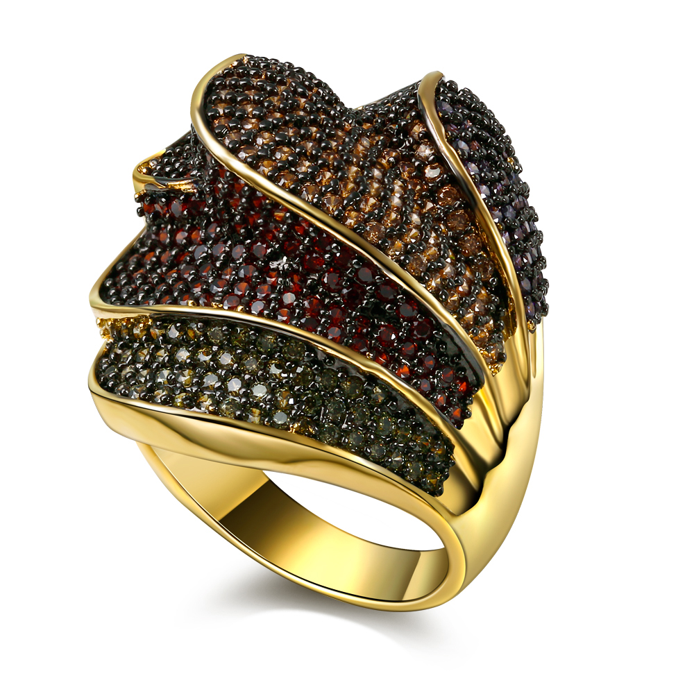 Nice Looking Fashion Women Rings Beautiful 4 Layers Multi Colors Jewelry AAA Cubic Zirconia Pave Setting  Gold-color