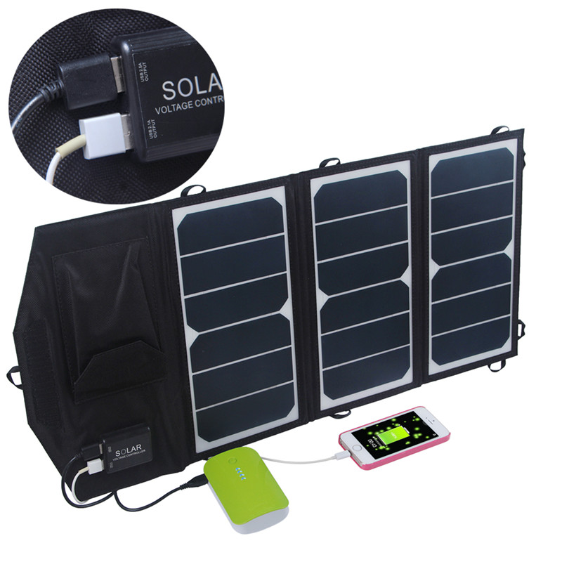 High Efficiency Outdoor 19.5W Folding Solar Charger Solar Panel Charger For iphone saunsung and any 5V USB devives