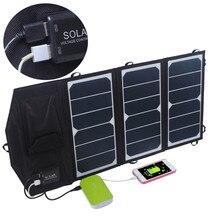Alta eficiência ao ar livre 19.5 w dobrável carregador solar carregador de painel solar para iphone devives saunsung e qualquer 5 v usb