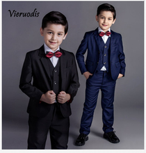 4 Pieces Wholesale Nimble Boys Formal Suits Solid Single Breasted Baby Boy Clothes Flat Toddler Jacket Blazer For Child
