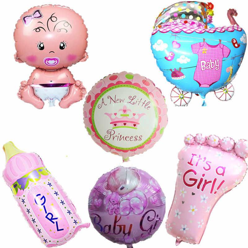 Z balonów foliowych Baby Boy balony dekoracyjne wózek dla dziecka piłka dla dziewczyny urodziny nadmuchiwane dekoracje świąteczne dla dzieci cartoon hat