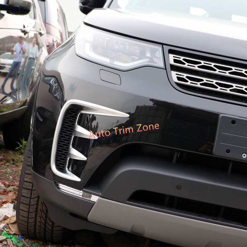 Exterior Matt Silver/Piano Black ABS Front Fog Lamp Light Cover Trim 2PCS For Land Rover Discovery L462 2017 2018 коврики в салон land rover range rover evoque 2011