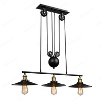Loft Vintage Pendant Lights Industrial Lamp 3 Head Iron Pulley Dish Lamp E27 110 240V Bar Kitchen Industrial Decor Edison Light