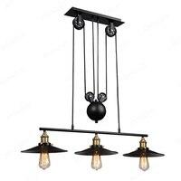Loft Vintage Pendant Lights Industrial Lamp 3 Head Iron Pulley Dish Lamp E27 110 240V Bar Kitchen Industrial Decor Edison Light