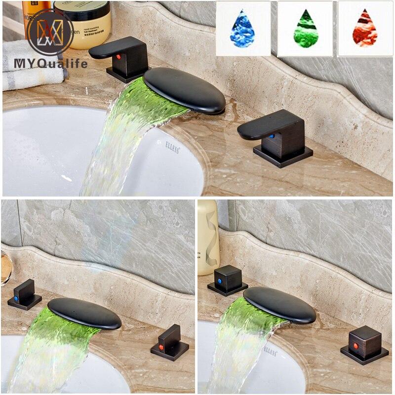 Luxury Waterfall LED Light Spout Basin Vessel Sink Faucet Double Handle Widespread Bathroom Lavatory Sink Mixer Taps