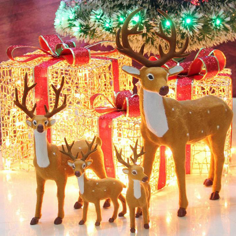 Decorated Under the Christmas Tree Elk Decorative Reindeer Simulation of Plum Blossom Sled Deer Reindeer decorations under Tree simulator simulation tree   - title=
