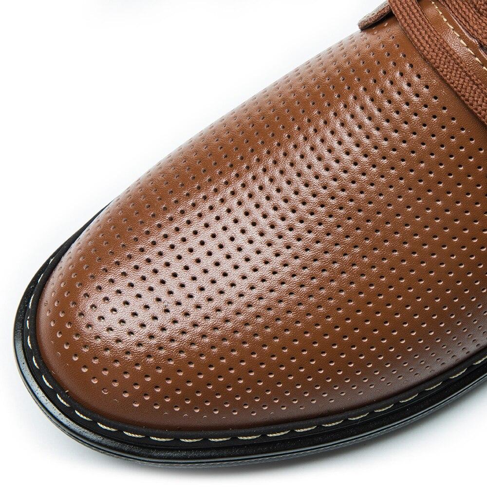 D'été Hommes marron Respirant Ventilation En Chaussures Décontractée Arrivé Nouveau Cuir 2018 or Richelieus Casual Creux Buvazik Noir Perforé Uwxq0atn